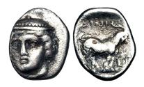 Ancient Coins - THRACE, Ainos.  403-401 BC.  AR Diobol.  ex Sellwood collection.