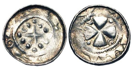 World Coins - GERMANY.  Saxony.  Henry IV (?), 1056-1106.  AR Pfennig of Meissen (?).  Cross in circle of 12 pellets / Broad cross with crescents and pellets in angles.  Dannenberg.1339.