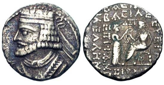 Ancient Coins - PARTHIA.  Vologases I, 51-78 AD.  AR Tetradrachm (14.10 gm), 52-53 AD.  Diademed bust / Tyche standing presenting diadem to enthroned king.  Shore.370v(S).  Toned VF.   Scarce.