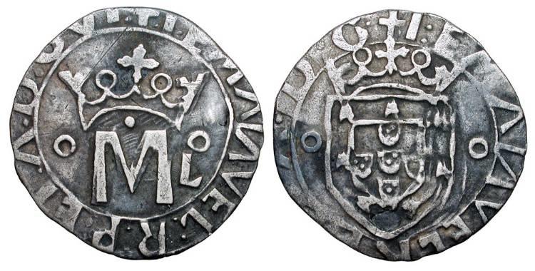 Ancient Coins - PORTUGAL.  Manuel I, 1495-1521 AD.  AR Vintem of Lisboa.