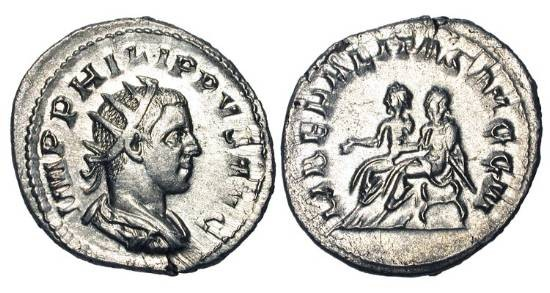 Ancient Coins - PHILIP II, 244-247 AD.  AR Antoninianus (4.38 gm).  Radiate bust / Philip I and Philip II seated in curule chairs.  RIC.230.  XF.