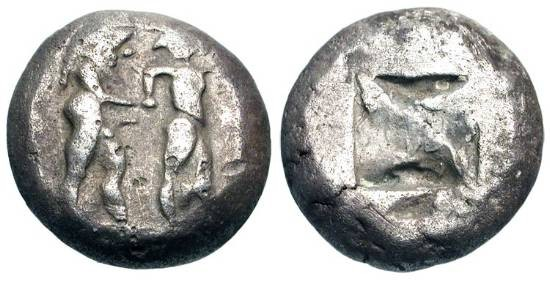 Ancient Coins - MACEDONIA, Lete.  530-480 BC.  AR Stater (9.60 gm).  Naked ithyphallic satyr grasping arm of fleeing nymph / Rough incuse square.  SNG.ANS.947.  Toned VF.  Rare.