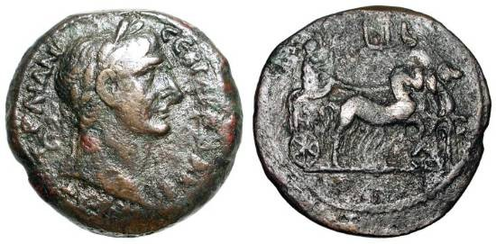 Ancient Coins - ROMAN EGYPT.  Trajan, 98-117 AD.  Æ Drachm (21.74 gm), yr. 12.  Laureate head / Emperor in quadriga.  Köln.497.   aVF,  brown patina, some roughness.