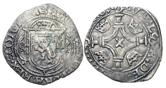 World Coins - SCOTLAND.  James IV 1488-1513 AD.  Billon Plack (4d) (1.88 gm).  Arms in tressure / Cross. with crowns in angles.   Roman lettering. S.5351.  Toned aVF.  Rare.
