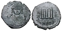 Ancient Coins - BYZANTINE EMPIRE. Maurice Tiberius. 582-602 AD.  AE Follis of Theoupolis.