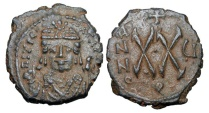 Ancient Coins - BYZANTINE EMPIRE.  Maurice Tiberius, 582-602 AD.   Æ Half Follis of Antioch.