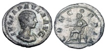 Ancient Coins - JULIA PAULA, first wife of Elagabalus, 219 AD.  AR Denarius
