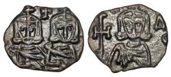 Ancient Coins - BYZANTINE EMPIRE.  Constantine V and Leo IV, 741-775 AD.  AE Follis.