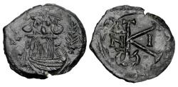 Ancient Coins - BYZANTINE EMPIRE.  Constans II, 641-668 AD.  AE Half Follis.