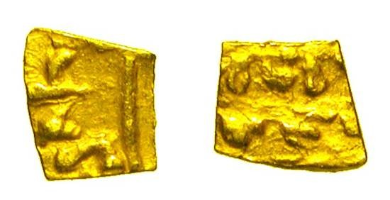 World Coins - JERUSALEM.  XII-XIII Century AD.  Cut Gold Fragment (0.10 gm).  Uncertain design elements.  Met.264-333.  Scarce.