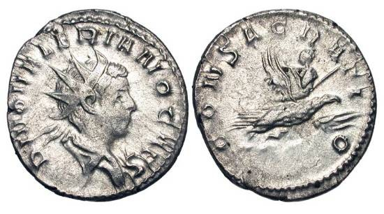 Ancient Coins - VALERIAN II, d. 255 AD.  AR Antoninianus (3.16 gm), posthumous commemorative 256-259 AD.  Radiate head / Valerian riding eagle to heaven.  RSC.5.  RIC.9.  Toned VF