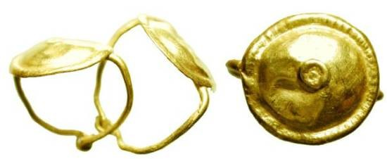 Ancient Coins - Pair of Gold Earrings.  Roman II-III Century AD.  Disk with raised center and edge (resembling shield) on wire loop.   Disk, 12mm.  Some crimping, intact and choice.