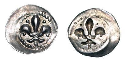 World Coins - FRANCE, Strasbourg.  XIV-XVI Century AD.  AR Lilienpfennig (0.22 gm).  Lis  / Incuse.  Rob.9051.  Toned aXF.