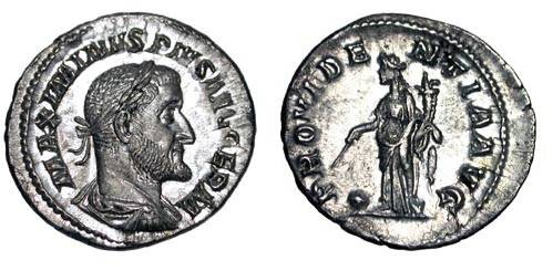Ancient Coins - MAXIMINUS I THRAX, 235-238 AD.  AR Denarius (2.76 gm).  Laureate and draped bust / Providentia standing over globe holding baton and cornucopia.  RIC.20.  Mint.
