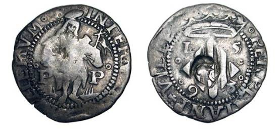 World Coins - SPAIN, Perpinan.  Philip II, 1556-1598 AD. Billon  Real (3.23 gm), 1598.  The Baptist standing facing / Crowned shield of arms.  C&C.3417.   Toned aVF, countermarked as usual.