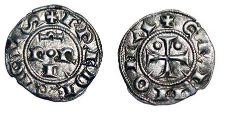 World Coins - ITALY, Cremona.  1150-1330 AD.  AR Mezzanino (0.59 gm).  P R I / Cross.  B.687.  Toned aXF.  Scarce.