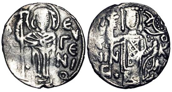 Ancient Coins - TREBIZOND.  John II, 1280-1297 AD.  AR Asper (2.70 gm).  St. Eugenios standing with long cross / Emperor standing with sceptre and orb.  S.2608.  Crude VF.
