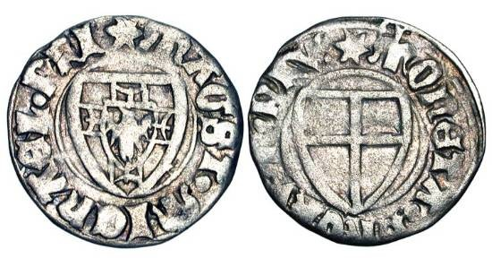 World Coins - GERMANY, Teutonic Order.  Michael von Sternberg, 1414-1422 AD.  AR Schilling (1.61 gm).  Shield of arms of grandmaster / Shield of arms of order.  Neu.14b.  Toned VF.