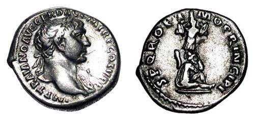 Ancient Coins - TRAJAN, 98-117 AD.  AR Denarius (3.21 gm).  Laureate bust with slight drapery / Dacian seated at foot of trophy of arms.  RIC.222.  VF