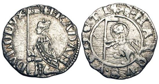 World Coins - ITALY, Venice.   Francesco Dandolo 1329-1339 AD.  AR Soldino (0.80 gm).  Doge kneeling before gonfalon / Lion of Saint Mark.  Pao.4.  VF.