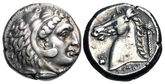 Ancient Coins - SICULO PUNIC.  SICILY, MHSBM  300-289 BC.  AR Tetradrachm.  Head of Herakles in lionskin / Horse head, palm tree behind.  Jenkins.351 (dies).   Nicely Toned aXF, fine style.