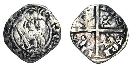 World Coins - ANGLO-GALLIC, Aquitaine.  Henry IV, 1399-1412 AD.  AR Hardi.  Half length crowned figure standing holding sword  / Long cross with leopards and fleurs de lis.  Elias.233.