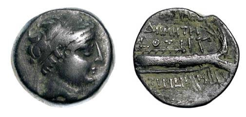 Ancient Coins - SELEUKID Kingdom.  Demetrios II, 146-139 BC.  Æ 18 (5.76 gm) of Tyre.  Diademed head / Stern of galley.  SNG.Cop.288.  VF, olive green patina.