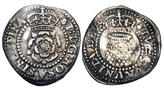 World Coins - ENGLAND.  James I, 1603-1625 AD.  AR Halfgroat (0.88 gm), 3rd coinage, i. m. Thistle, 1621-3.  Crowned rose / Crowned thistle.  S.2671.  Toned VF.