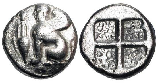 Ancient Coins - IONIA, Chios.  V Century BC.  AR Drachm (3.44 gm).  Sphinx seated with amphora / Quadripartite incuse granulated square.  SNG.Cop.1546.  VF+,