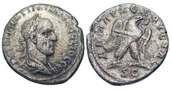 Ancient Coins - SYRIA, Antioch.  Trajan Decius, 249-251 AD.  Billon Tetradrachm (10.85 gm).  Laureate bust right / Eagle standing left.  P.593.  Toned VF.
