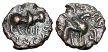 Ancient Coins - KUSHANS.  Kujula Kadphises, 1-40 AD.  Æ Dichalkon