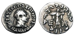 Ancient Coins - BAKTRIAN KINGDOM.  Menander I Soter, 155-130 BC.  AR Drachm