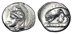 Ancient Coins - LUCANIA, Velia.  350-310 BC.  AR Nomos signed by Kleudoros.