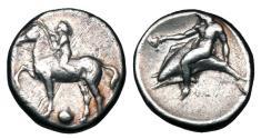 Ancient Coins - CALABRIA, Taras.  302-280 BC.  AR Nomos.  ex. Neubecker collection.