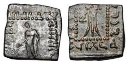 Ancient Coins - BAKTRIAN KINGDOM.  Apollodotos I, 174-165 BC.   Square Æ23 Hemiobol.