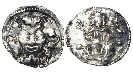 World Coins - HUNGARY. Wenceslas, 1301-1305 AD.  AR Denar (0.42 gm).  King enthroned facing / Facing bust.  H.436.  Toned VF+, flat spots.