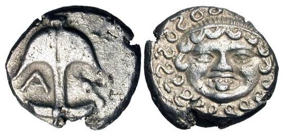 Ancient Coins - THRACE, Apollonia Pontika.  V-IV Century BC.  AR Drachm (3.26 gm).  Anchor with A and crayfish / Facing gorgoneion.  SNG.BM.159.  VF+.