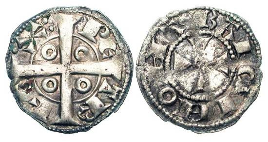 World Coins - SPAIN, Catalunya.  Condado of Barcelona.  Pere I, 1196-1213 AD. AR Diner (0.93 gm) of Barcelona.  Long Cross / Short Cross.   CiS.144.  Toned  XF.