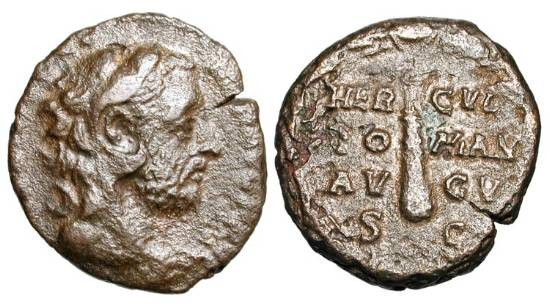 Ancient Coins - COMMODUS, 180-192 AD.  Æ As (6.96 gm).  Head of Commodus in lion skin headdress / Club in wreath.  RIC.644(S).  aVF, smoothed brown patina.  Scarce.