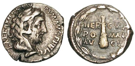 Ancient Coins - COMMODUS, 177-192 AD.  AR Denarius (3.42 gm).  Emperor head right wearing lion skin headress / Club within wreath.  RIC.251. Toned VF+.  Scarce.