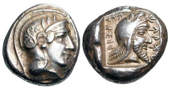 Ancient Coins - LYCIAN DYNASTS.  Kherei,  410-390 BC.  AR Stater of Xanthos.  Helmeted head of Athena / Head of bearded dynast in incuse square.  Mork&Zahle.37. SNG.Cop.Sup.447.  Toned aXF.