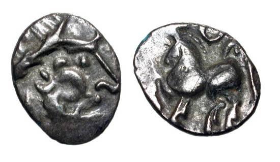 "Ancient Coins - EASTERN CELTS, Danube region.  I Century BC. AR ""Kugelwange"" Drachm (1.65 gm).  Celticized head / Horseman riding.  Lanz.509.  Toned VF+."