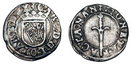 World Coins - FRANCE, Lorraine.  Charles III, 1545-1608 AD.  AR Sol Carolus (0.88 gm) of Nancy.  Crowned shield of arms / Sword.  DeS.XVIII.5. Toned VF+.