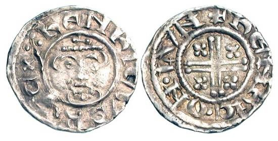 World Coins - ENGLAND. Richard I the Lionhearted, 1189-1199  AD.  AR Penny (1.14 gm), class 4b, of London, HENRIC ON LVN.  Crowned bust facing holding sceptre / Short cross. S.1348C. …