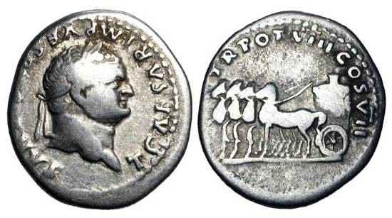 Ancient Coins - TITUS, 79-81 AD.  AR Denarius (3.23 gm).  Laureate head / Slow quadriga with flower.  RIC.1073.  Fine+.