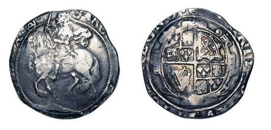 World Coins - ENGLAND.  Charles I, 1625-1649 AD.  AR Halfcrown (12.80 gm), i. m. Triangle-in-Circle, 1641-3.  King on horseback holding sword / Garnished shield of arms.  S.2275.  Toned aVF.