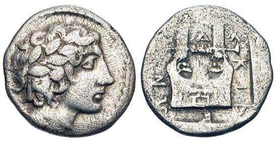 Ancient Coins - MACEDON, Chalkidian League, Olynthos.  432-348 BC.  AR Tetrobol (2.21 gm).  Laureate head of Apollo / Lyre in incuse square.  SNG.ANS.533.  Toned aVF.