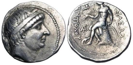 Ancient Coins - SELEUKID KINGDOM.  Antiochos I Soter, 280-261 BC.  AR Tetradrachm of Ekbatana.  Diademed head / Apollo seated on omphalos holding arrows and bow, horse forepart.  H&L.409.2g.
