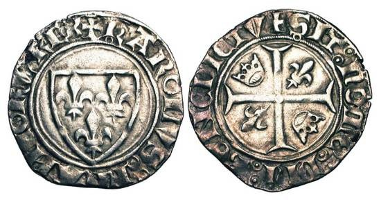 World Coins - FRANCE.  Charles VI the Mad, 1380-1422 AD.  AR Blanc Guénar (3.00 gm) of Crémieu, 4th emission 1411 AD.  Shield of arms / Cross with two crowns and two lis.  DuP.377C.  Toned VF+.