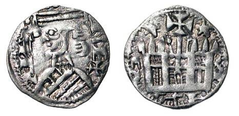 World Coins - SPAIN, Castile   Alfonso VIII, 1158-1214 AD.  Billon Dinero (0.65 gm) of Toledo.  Crowned bust / Castle.  C&C.1108.  Toned aXF.